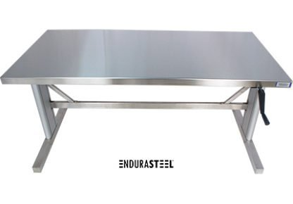 EnduraSteel™ Stainless Steel Two-Post Manual Lift Table front view
