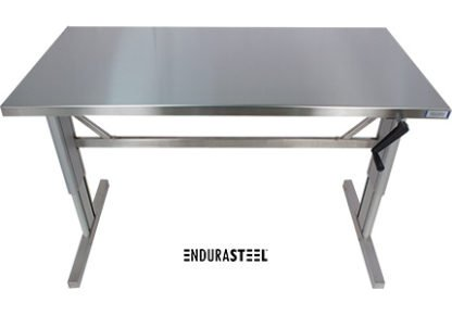 EnduraSteel™ Stainless Steel Two-Post Manual Lift Table front view with legs fully extended