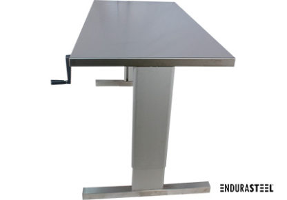 EnduraSteel™ Stainless Steel Two-Post Manual Lift Table side view