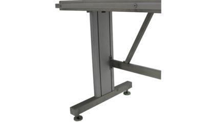 EnduraSteel™ Stainless Steel Two-Post Electric Lift Table view of pedestal detail with leveling feet