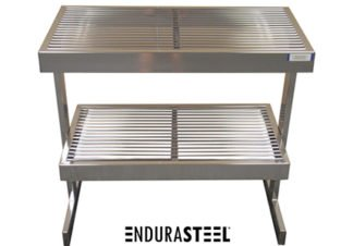 EnduraSteel™ Stainless Steel Rod Top Clean Room Table shown with EnduraSteel logo