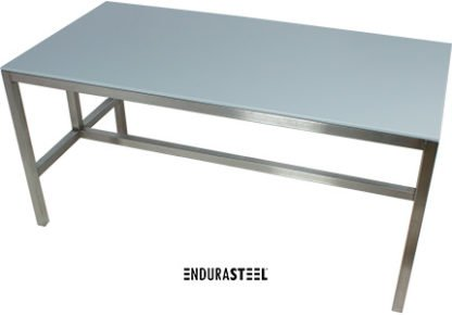 EnduraSteel™ Stainless Steel Table with HDPE top for food processing and chemical resistance side angle view