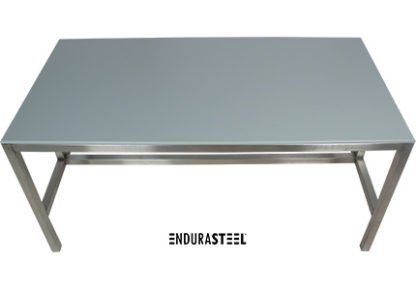 EnduraSteel™ Stainless Steel Table with HDPE top for food processing and chemical resistance top angle view