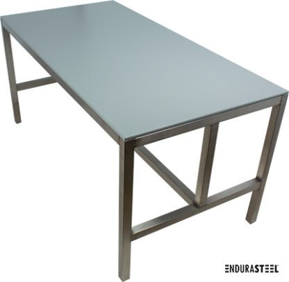 EnduraSteel™ Stainless Steel Table with HDPE Top side angled view