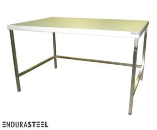EnduraSteel™ Stainless Steel Chemical Engineering Table with UHMW Work Surface and showing EnduraSteel logo