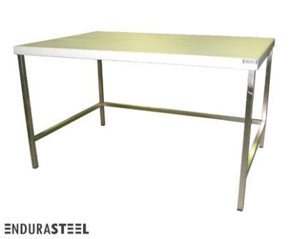 EnduraSteel™ Stainless Steel Chemical Engineering Table with UHMW Work Surface and showing EnduraSteel logo