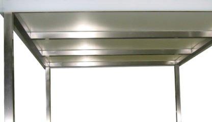 EnduraSteel™ Stainless Steel Chemical Engineering Table with UHMWPE Work Surface showing underside detail