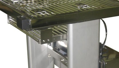 EnduraSteel™ Electropolished Adjustable Height Stainless Steel Rod Top Table keyboard tray and lift legs detail