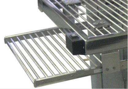EnduraSteel™ Electropolished Adjustable Height Stainless Steel Rod Top Table showing keyboard tray extended