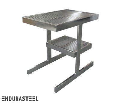 EnduraSteel™ Stainless Steel Rod Top Clean Room Table shown with EnduraSteel logo