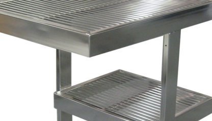 EnduraSteel™Electropolished Stainless Steel Rod Top Clean Room Table showing electropolish finish detail