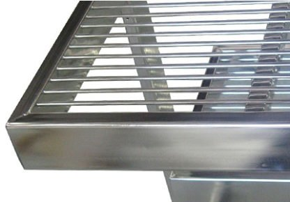 EnduraSteel™Electropolished Stainless Steel Rod Top Clean Room Table showing electropolish finish and rod top detail