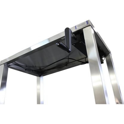 EnduraSteel™ Stainless Steel Manual Four Post Prep Lift Table view of black manual hand crank handle