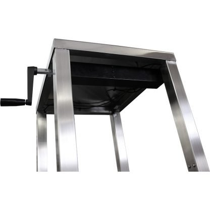 EnduraSteel™ Stainless Steel Manual Four Post Prep Lift Table manual hand crank and lift mechanism detail from underside