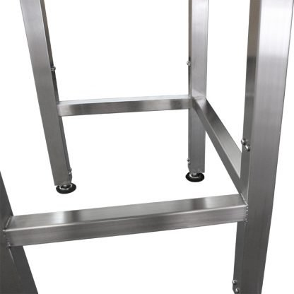 EnduraSteel™ Stainless Steel Manual Four Post Prep Lift Table leveling feet and lift post detail