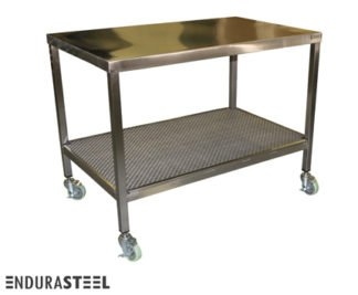 EnduraSteel™ Stainless Steel Industrial Wire Shelf Mobile Table with EnduraSteel logo