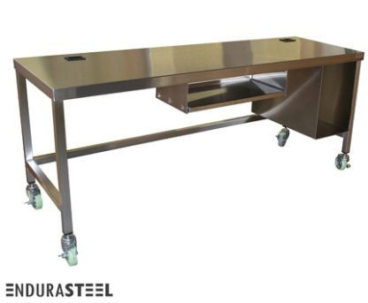 EnduraSteel™ Stainless Steel Mobile Field Computer Work Station front view
