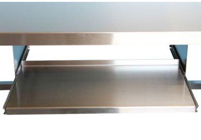 EnduraSteel™ Stainless Steel Mobile Field Computer Work Station showing keyboard drawer extended