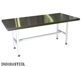 EnduraSteel™ Stainless Steel Industrial Conference Table with Economical Powder-Coated Mild Steel Frame and EnduraSteel logo