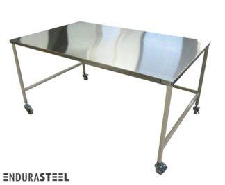 EnduraSteel™ Stainless Steel Mobile Staging Table with Economical Powder-Coated Mild Steel Frame and EnduraSteel logo