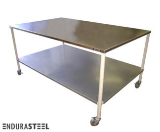 EnduraSteel™ Stainless Steel Mobile Prep Table with Economical Powder-Coated Mild Steel Frame and EnduraSteel logo