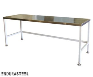 EnduraSteel™ Stainless Steel Security Staging Table with Economical Powder-Coated Mild Steel Frame and EnduraSteel logo