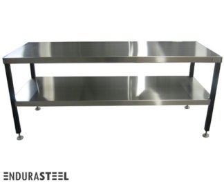 EnduraSteel™ Stainless Steel Showroom Table with Economical Powder-Coated Mild Steel Frame and EnduraSteel logo