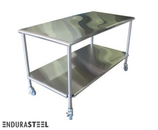 EnduraSteel™ Stainless Steel Round Edged Mobile Storage Table with EnduraSteel logo