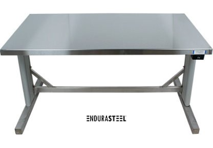 EnduraSteel™ Stainless Steel Two-Post Electric Lift Table front view