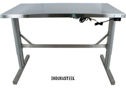 EnduraSteel™ Stainless Steel Two-Post Electric Lift Table front view with legs fully extended