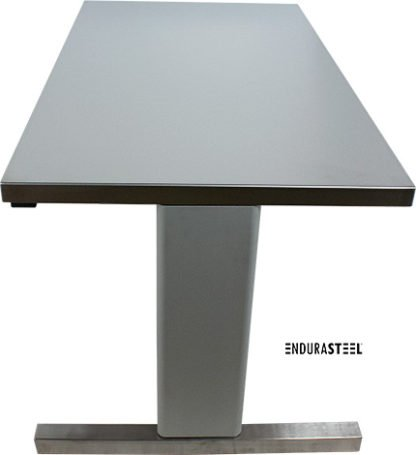 EnduraSteel™ Stainless Steel Two-Post Electric Lift Table side view with legs at lowest position
