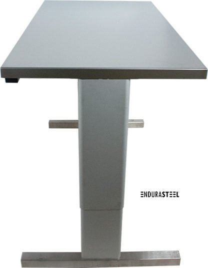 EnduraSteel™ Stainless Steel Two-Post Electric Lift Table side view with legs fully extended