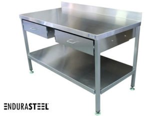 EnduraSteel™ Stainless Steel Double Drawer Work Station front view with EnduraSteel logo