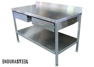 EnduraSteel™ Stainless Steel Double Drawer Work Station front view with EnduraSteel logo