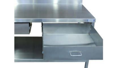 EnduraSteel™ Stainless Steel Double Drawer Work Station front view with drawer extended