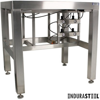 EnduraSteel™ Stainless Steel Anti-Vibration Table showing front detail