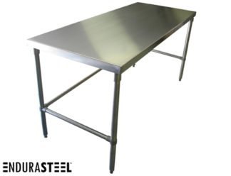 EnduraSteel™ Stainless Steel Economical Kitchen Work Table shown with EnduraSteel logo
