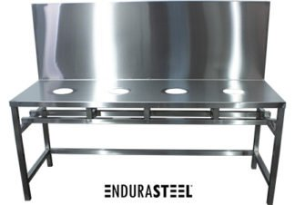 EnduraSteel™ Custom Stainless Steel Oil and Gas Industry Research Table front view with EnduraSteel logo