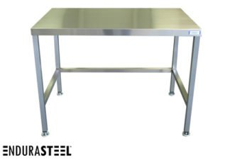Stainless Steel Beverage and Coffee Station Table shown with EnduraSteel logo