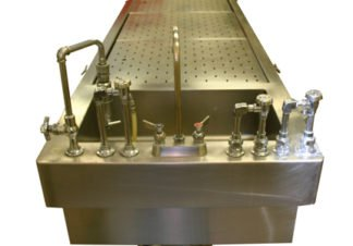 EnduraSteel™ Stainless Steel Forensic Table shown from sink side view