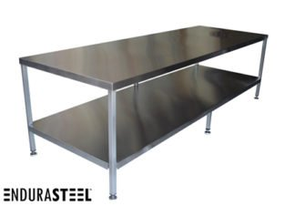 Stainless Steel Kitchen Prep Table shown with Optional Under-Shelf