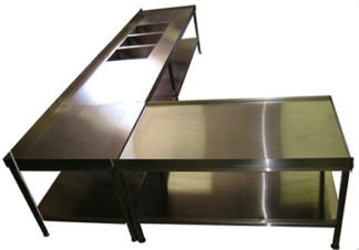 Stainless Steel Restaurant Kitchen Table with Three Sinks and Under-Shelf
