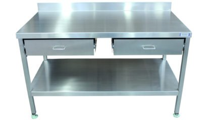 EnduraSteel™ Stainless Steel Double Drawer Work Station front view