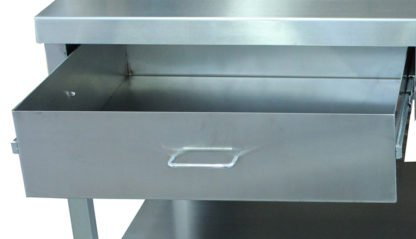 EnduraSteel™ Stainless Steel Double Drawer Work Station front view of left drawer open detail