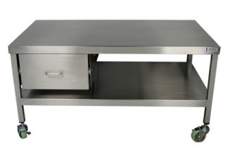 EnduraSteel™ Stainless Steel Mobile Work Station with Under-Shelf and Storage Drawer front view