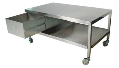 EnduraSteel™ Stainless Steel Mobile Work Station with Under-Shelf and Storage Drawer front view with drawer extended