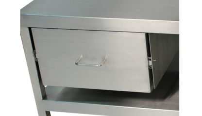 EnduraSteel™ Stainless Steel Mobile Work Station with Under-Shelf and Storage Drawer front view of stainless drawer