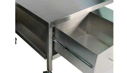 EnduraSteel™ Stainless Steel Mobile Work Station with Under-Shelf and Storage Drawer showing drawer extended