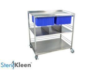 SterilKleen® Stainless Steel Distribution Cart with blue totes and organizer shelf