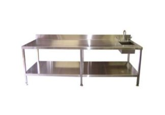 Stainless Steel Restaurant Chef Prep Table with Sink and Under-Shelf